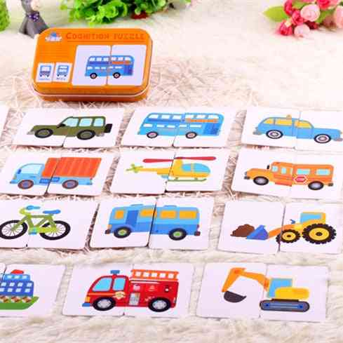 Graph Match Game Kid's Early Educational Montessori- Puzzle Card Cartoon Vehicle Learning Pocket Flash Card Mg09