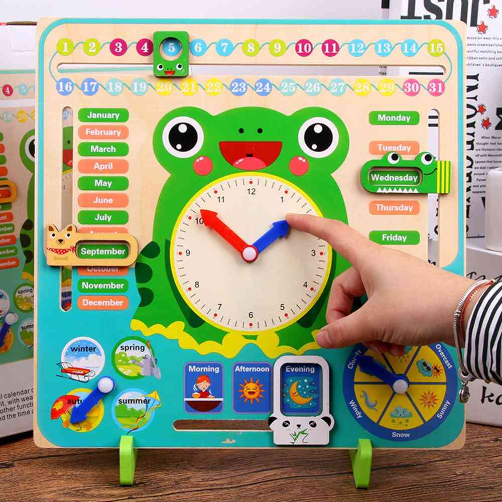 Wooden Montessori, Clock Calendar Weather Season Month Cognitive Board Kids Time Cognition Preschool Educational Toy