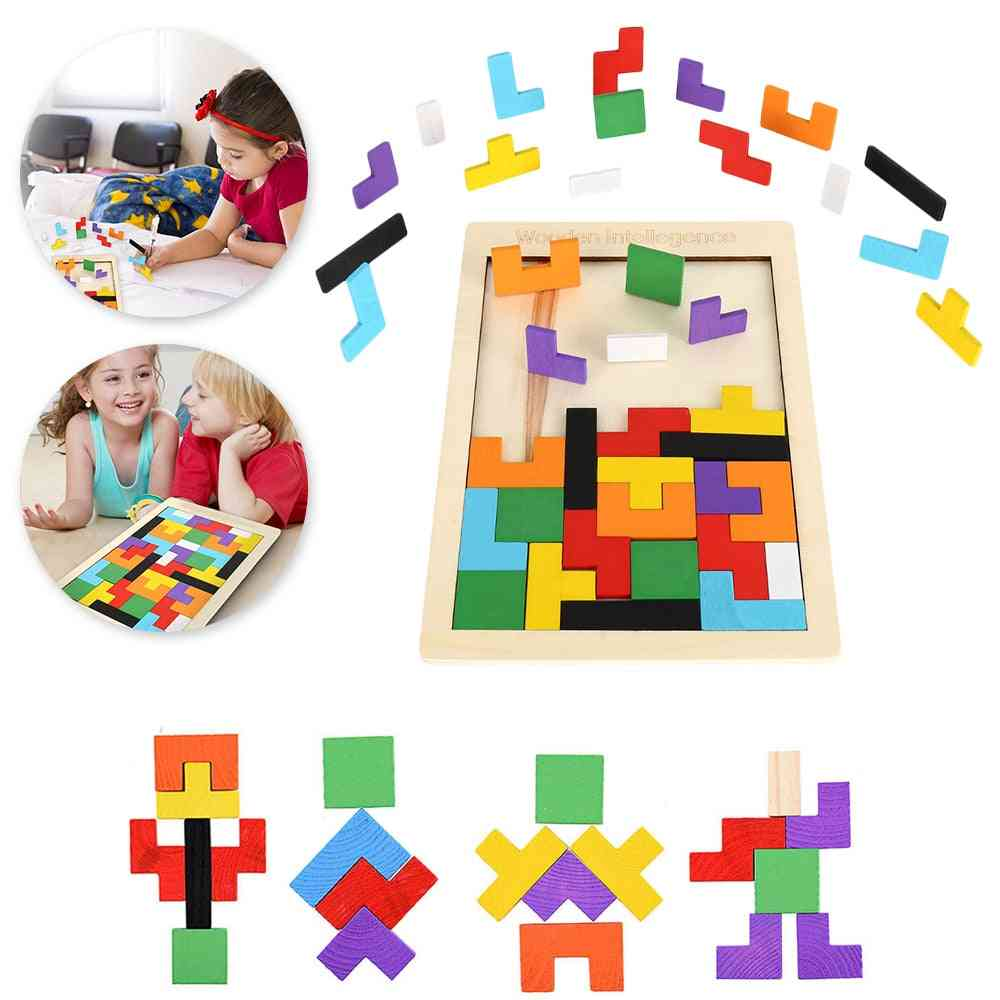 Wooden Jigsaw Puzzle Board, Brain Teaser For