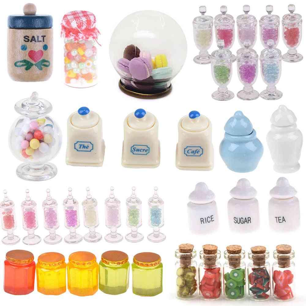 1:12 Dollhouse Miniature-food And Snacks Storage Glass Jars