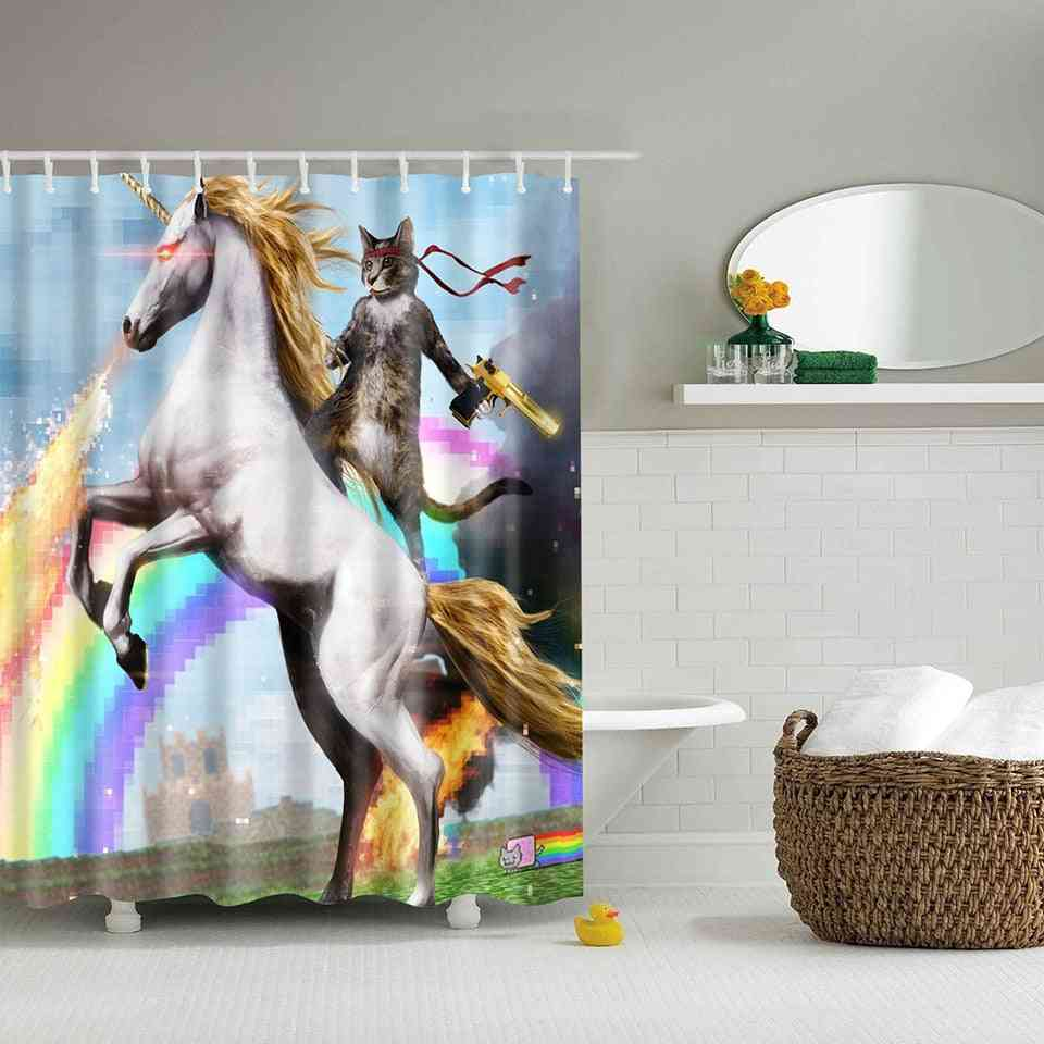 Adventures Of Unicorn And Cat Printed Shower Curtains