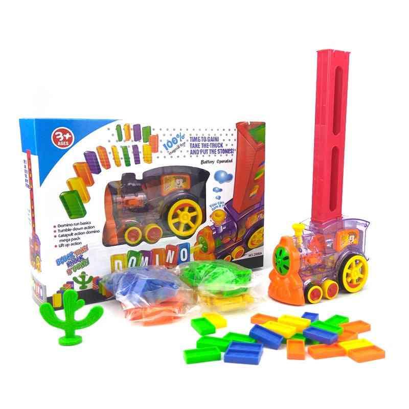Automatic Domino Brick Laying Toy -  Train Car Set, Bridge Bell Kit