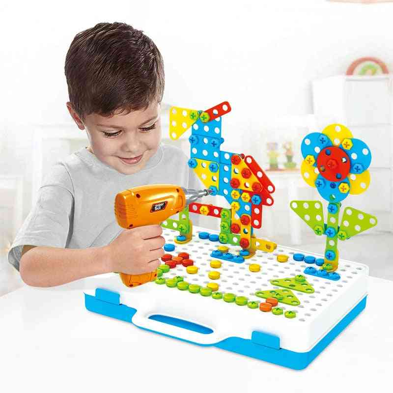 Kids Drill Screw Nut Puzzle, Pretend Play Tool Drill Disassembly Assembly Toy For Boy