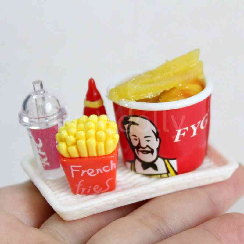 Mini Miniature Dollhouse Hamburger Coke Cup, Play Kitchen Ice Cream Accessories