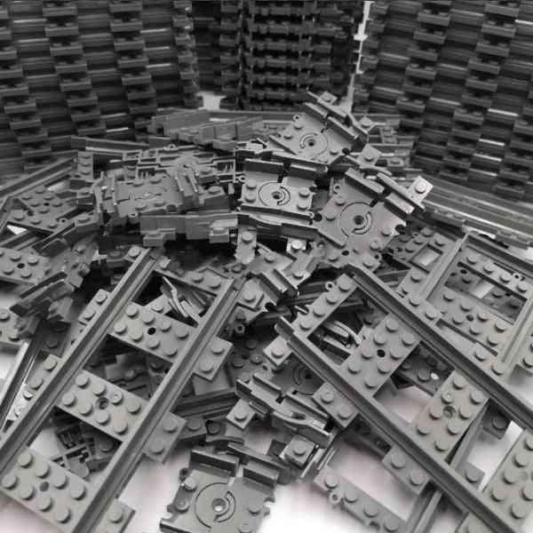 Straight, Curved & Flexible City Train Tracks Sets - Building Blocks