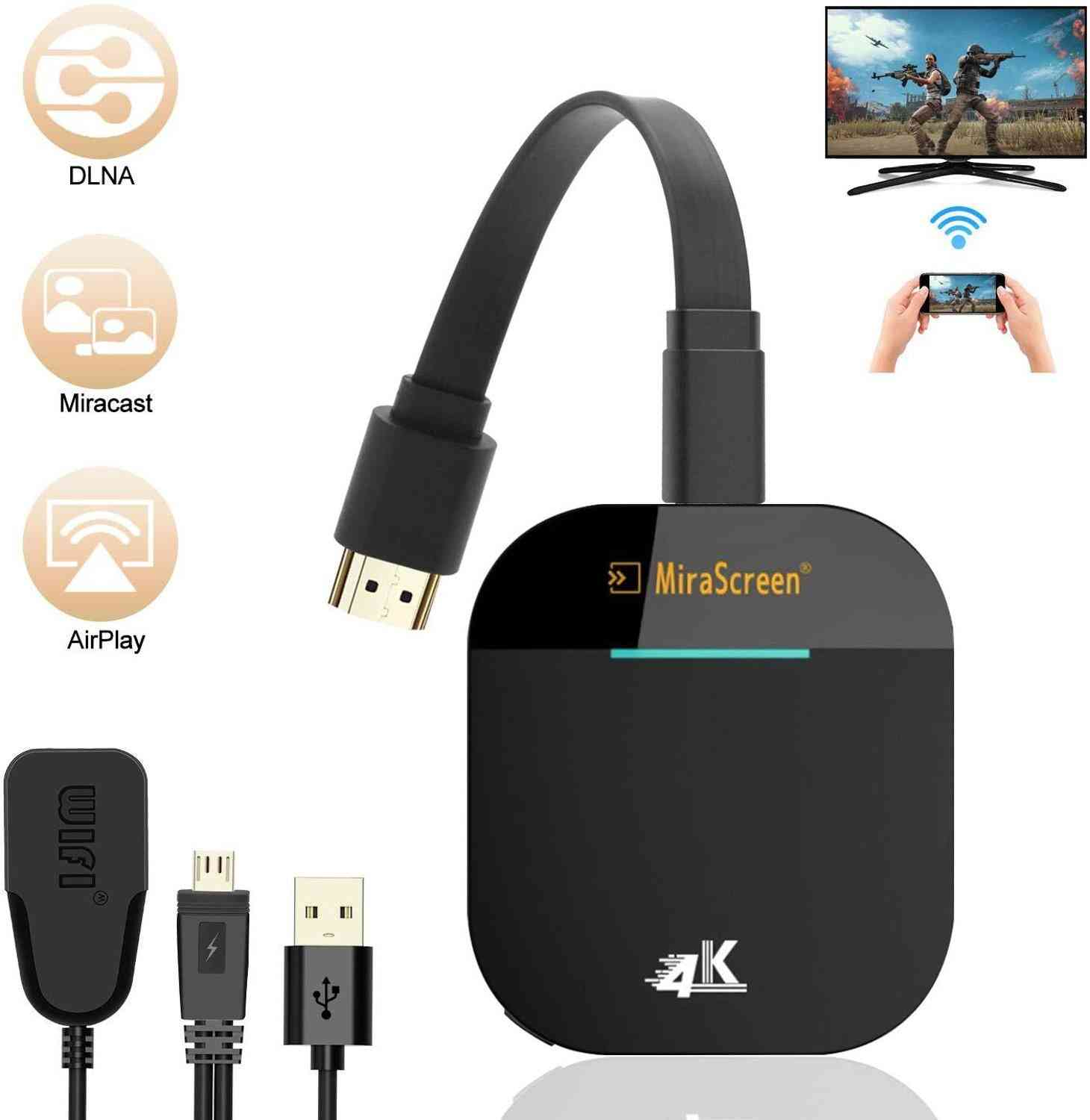 Mirascreen G5 2.4g 5g 1080p 4k Wireless Hdmi Dongle Tv Stick, Miracast Airplay Receiver Wifi Dongle Mirror Screen Cast