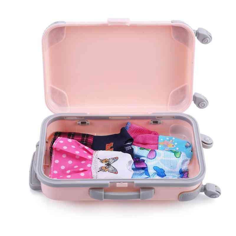 3d Travel Train, Suitcase, Luggage Play House Toy- Doll Accessories Plastic Furniture Kids