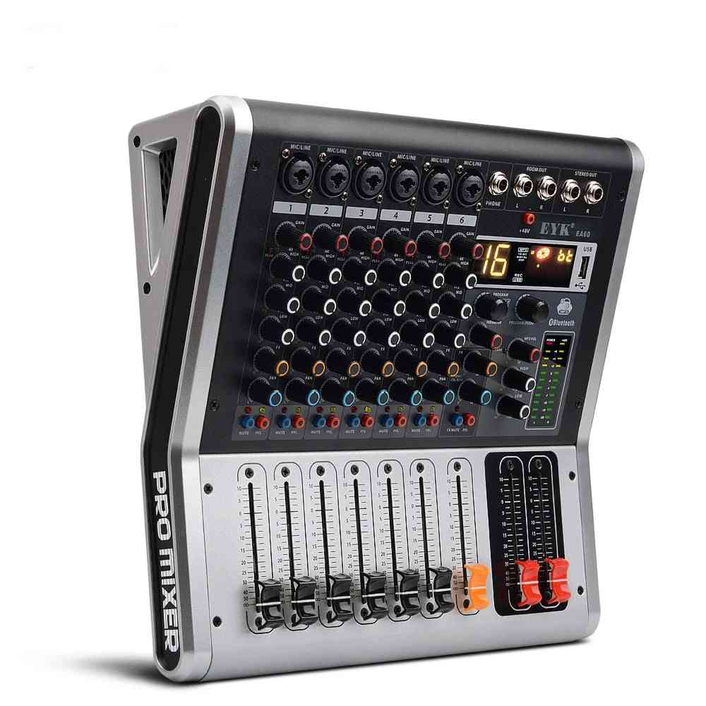 Channels Mixing Console With Mute And Pfl Switch Bluetooth Record 3 Band 16 Dsp Usb Audio Mixer