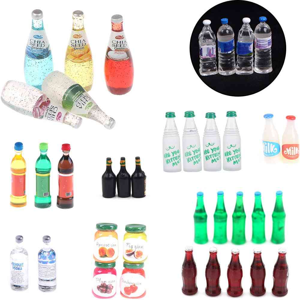 Mini Water Bottles- For Dollhouse- Pretend Play