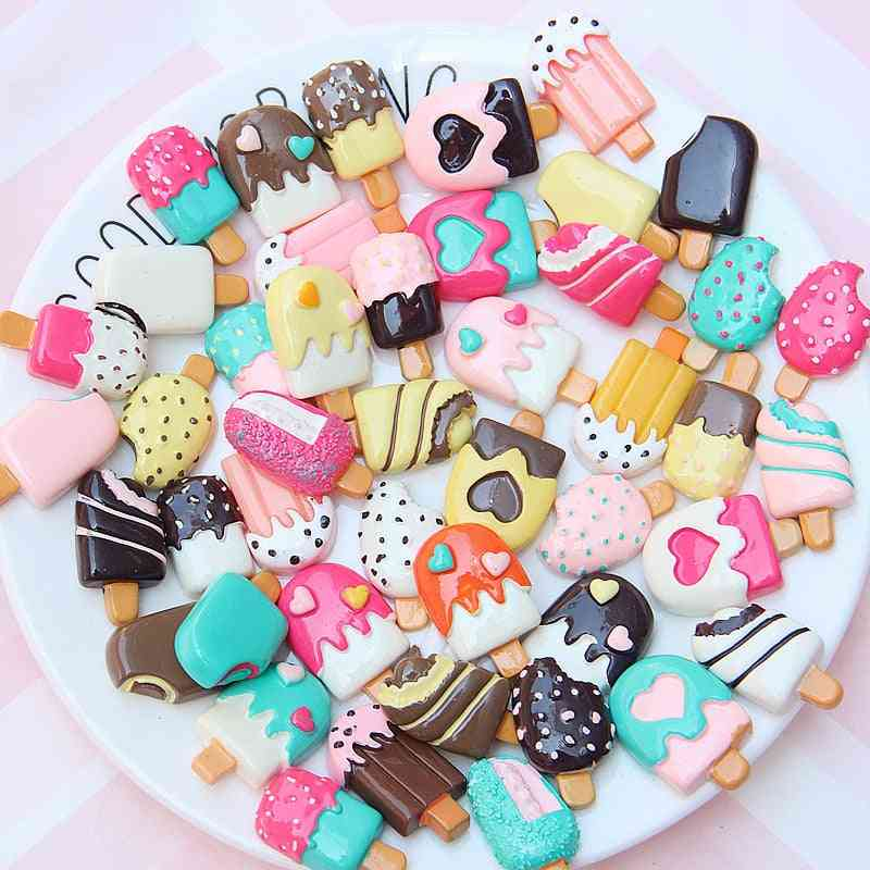 30pcs Candy Color Ice Cream Supplies Charm Resin Slime- Accessories Phone Case Decoration Handmade Craft Ornament (30pcs)