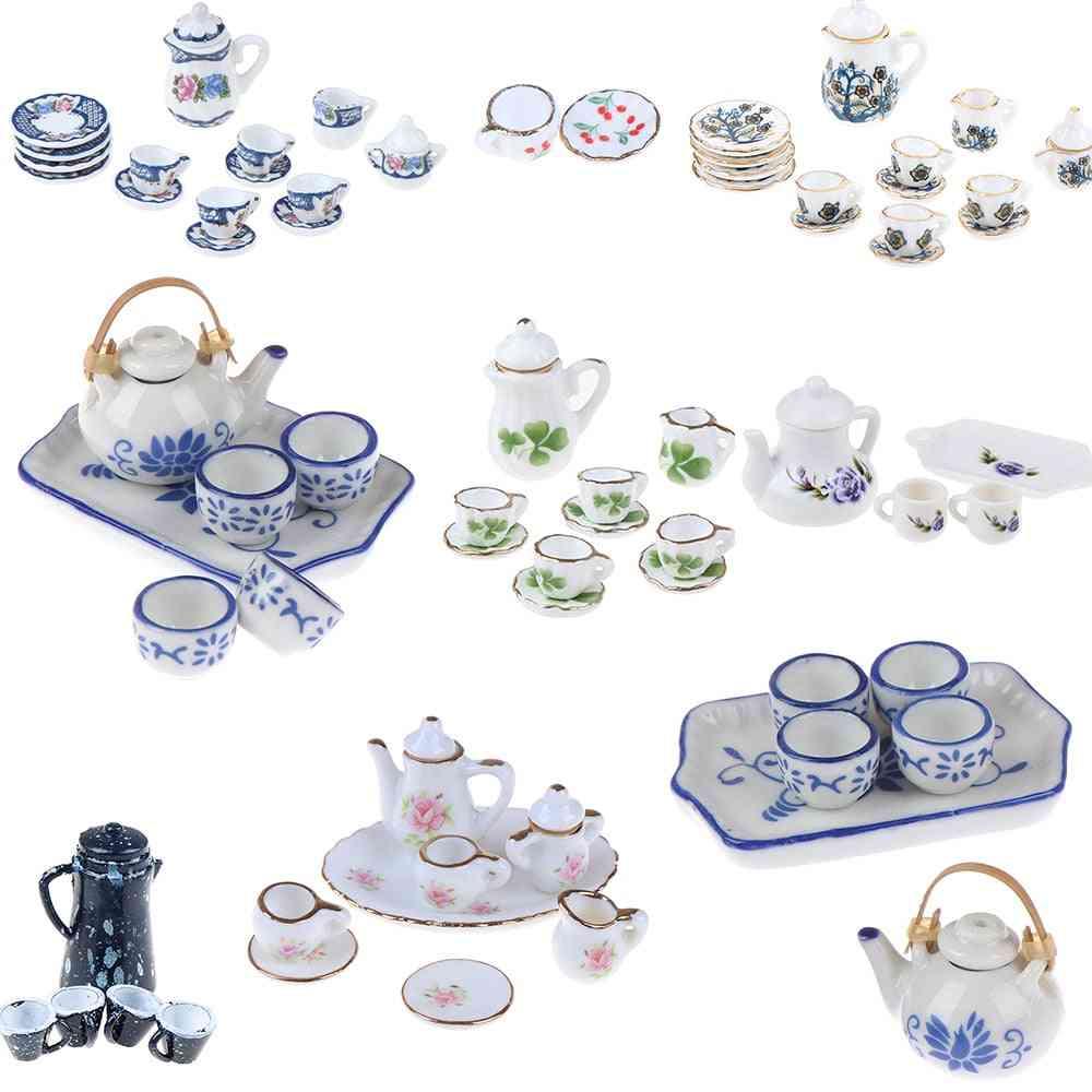 15/8/9/4/2pcs Miniature Mugs Dish Cups Pot Set- Direction Furniture Coffee / Tea Cups Dollhouse Accessory
