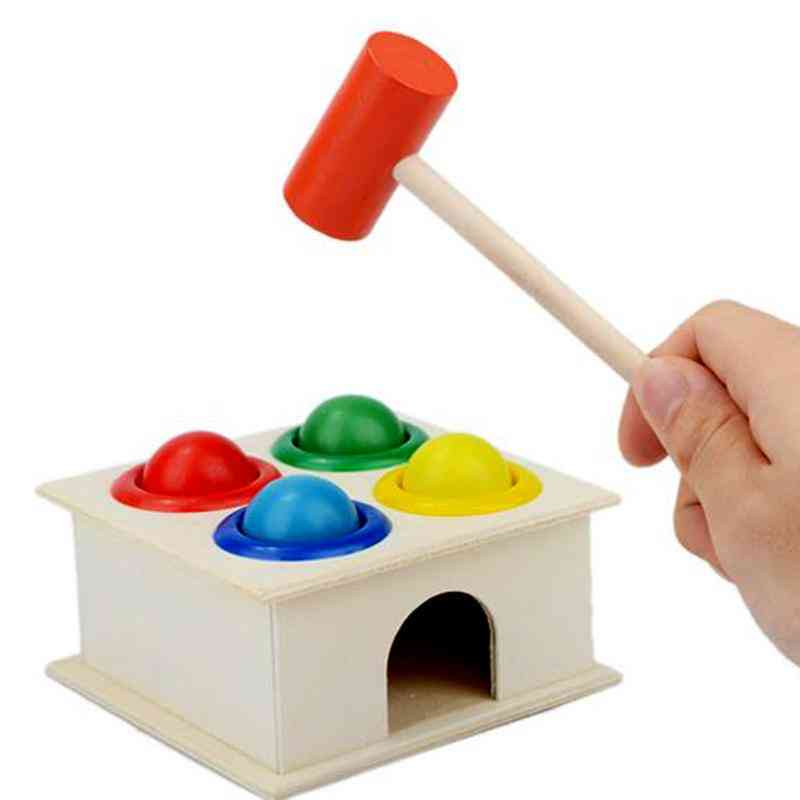 Wooden Ball Hammer Box-children Fun Playing Hamster Toy