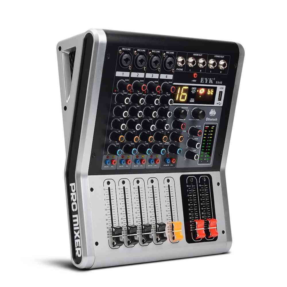 4 Channels Mixing Console With Mute And Pfl Switch - Usb Audio Mixer