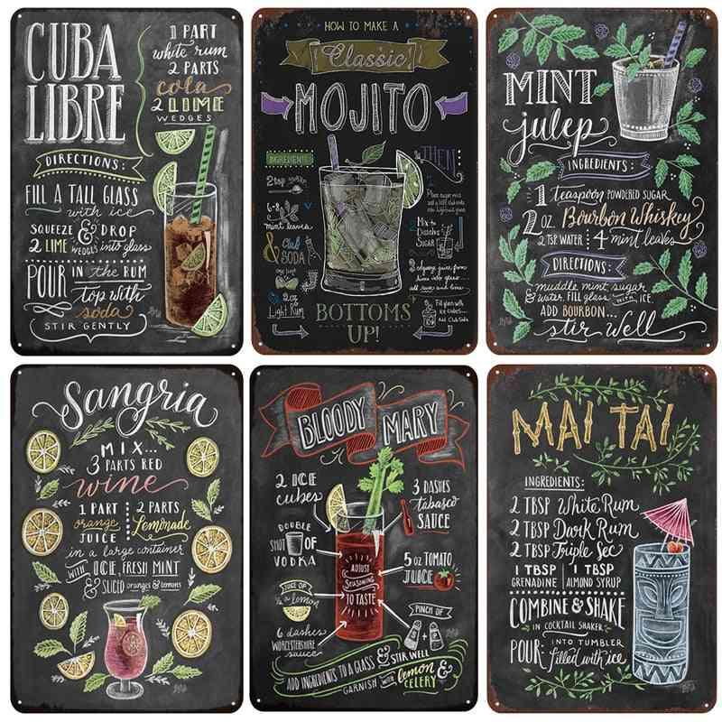 Mojito Cuba Libre Cocktail, Metal Signs Home Decor - Vintage Tin Signs
