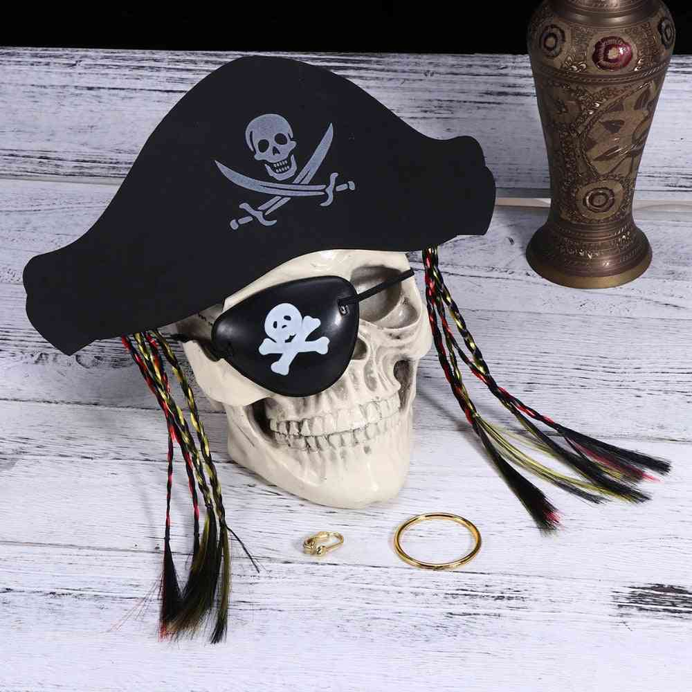 Halloween Pirate Prop Set With Hat Eye Mask And Ring Pretend