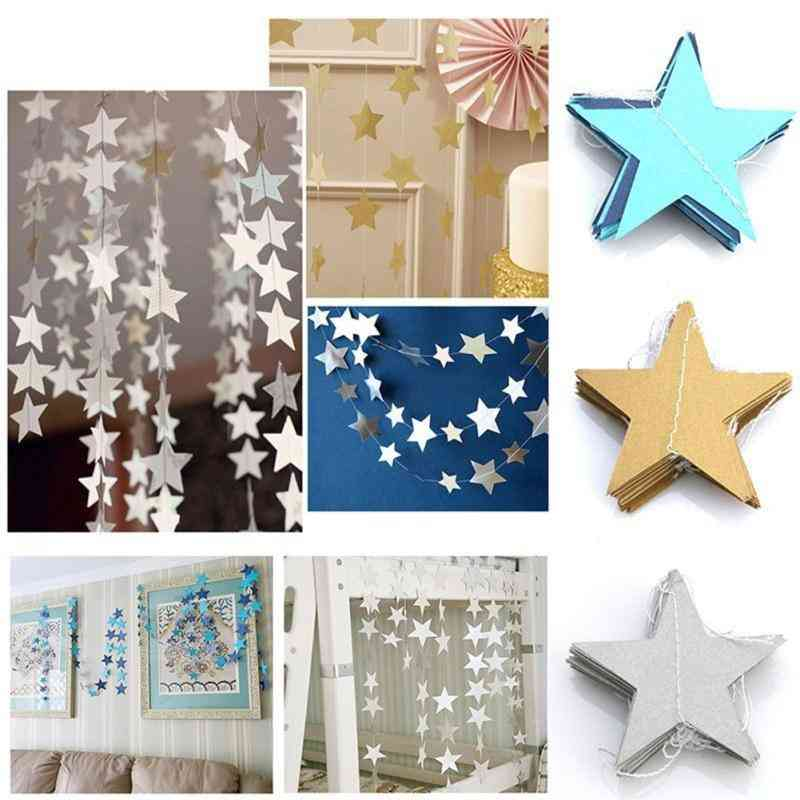 Paper Star Garlands Banner For Birthday String  And Chain Wedding Party