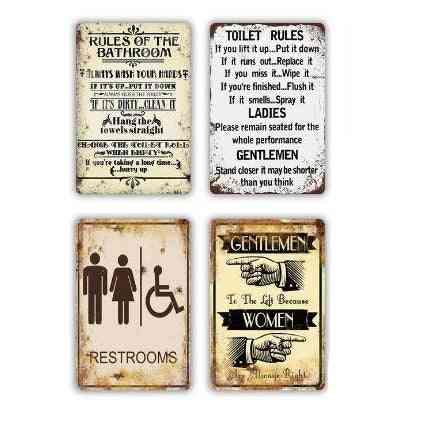 Toilet Sign Metal Vintage Plates For Toilet Bathroom