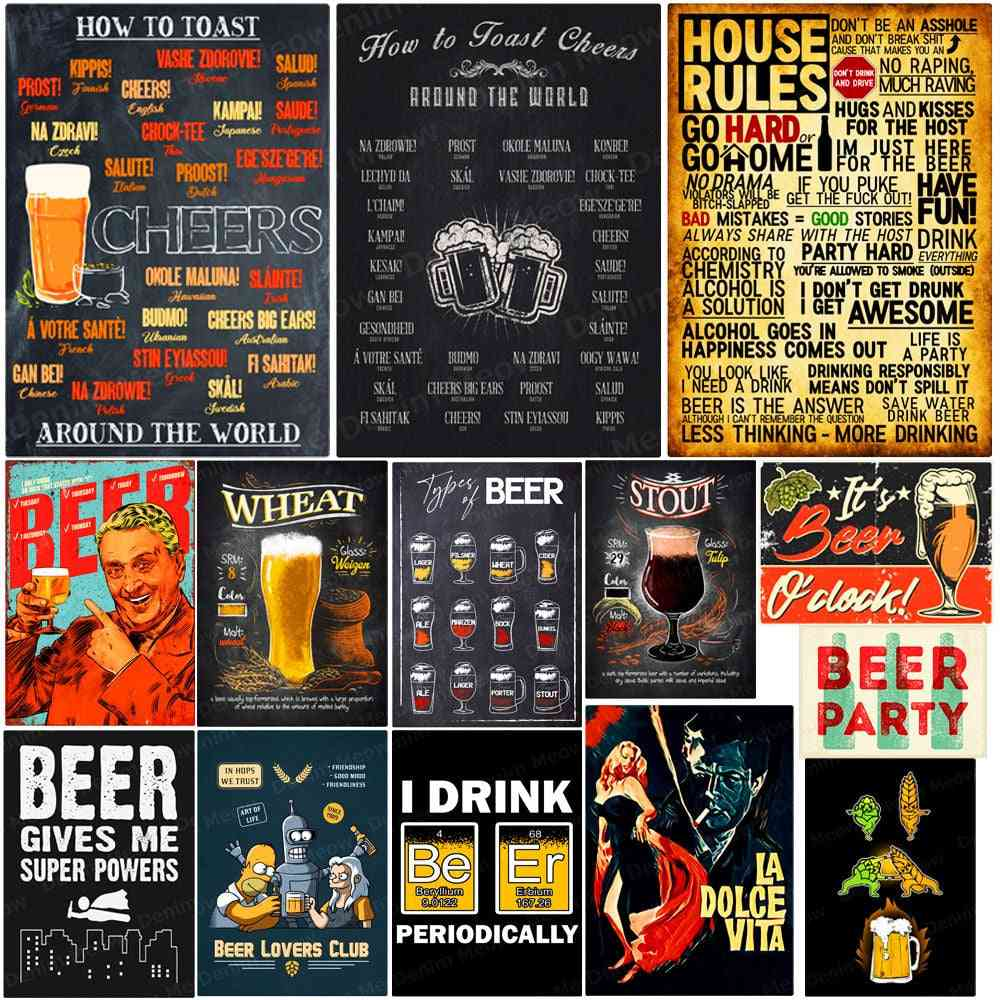 How To Toast Cheers Around The World Vintage Metal Tin Sign For Pub ,bar - Wall Art Poster