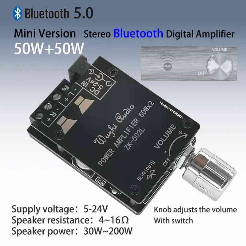 Bluetooth 5.0 Wireless Audio Digital Power Amplifier Stereo Board, 50wx2 Bluetooth Amp Amplificador Zk-502l