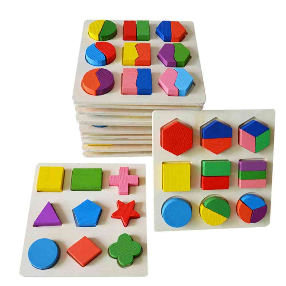 Imagination Kids Baby Wooden Geometry Building Puzzle - Learning Educational Toy