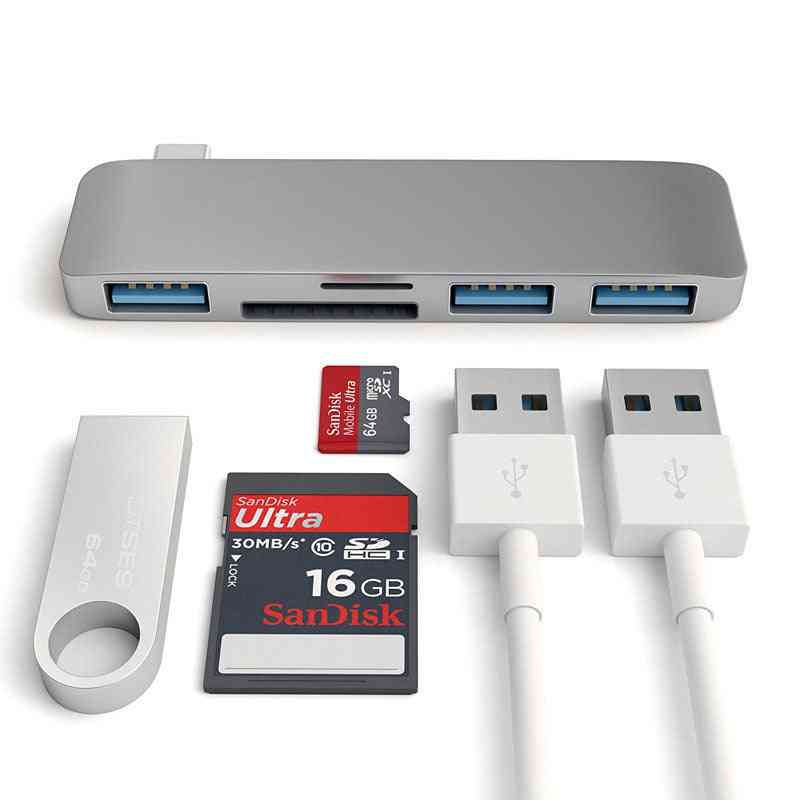 5-in-1 Thunderbolt 3 Adapter Usb Type C Hub Dock Dongle With Tf Sd Card Reader, Usb 3.0