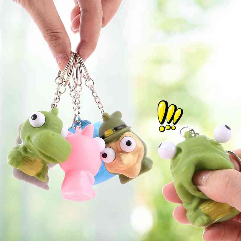 Cute Cartoon Squeezing Key Chain - Dinosaur Design Spoof Decompression Children's Toy
