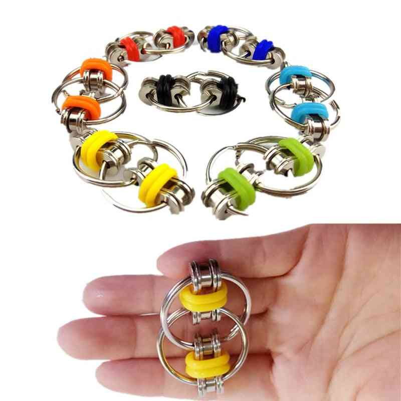 Tri-spinner Reduce Stress - Key Ring Fidget Toy For Autism, Fingertip Decompression Chain