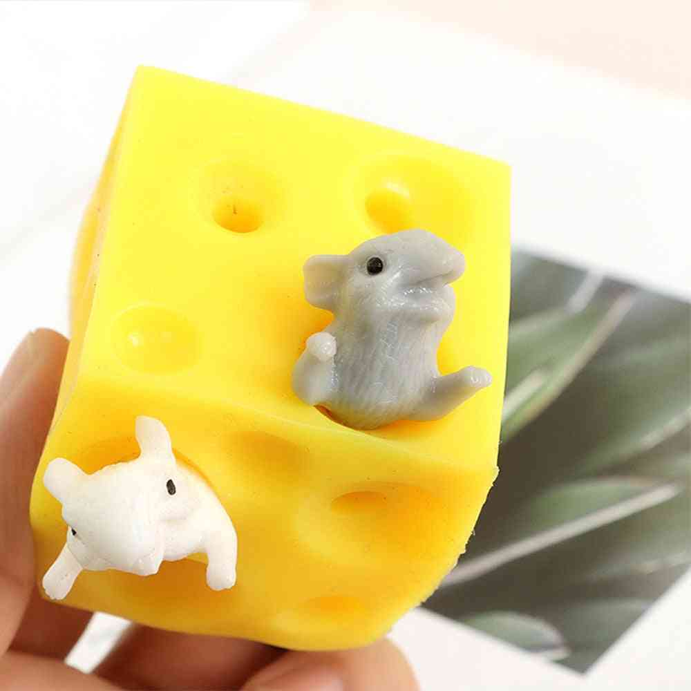 Hide And Seek Stress Relief Mouse And Cheese Toy - Squishable Figures Block Stress Busting Fidgets