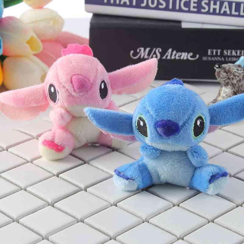 2pcs/set Kawaii Stitch Plush Toy- Keychains Stuffed Soft Pp Cotton Phone Charm Strap Bag Pendant 7x6.5cm (set 2)