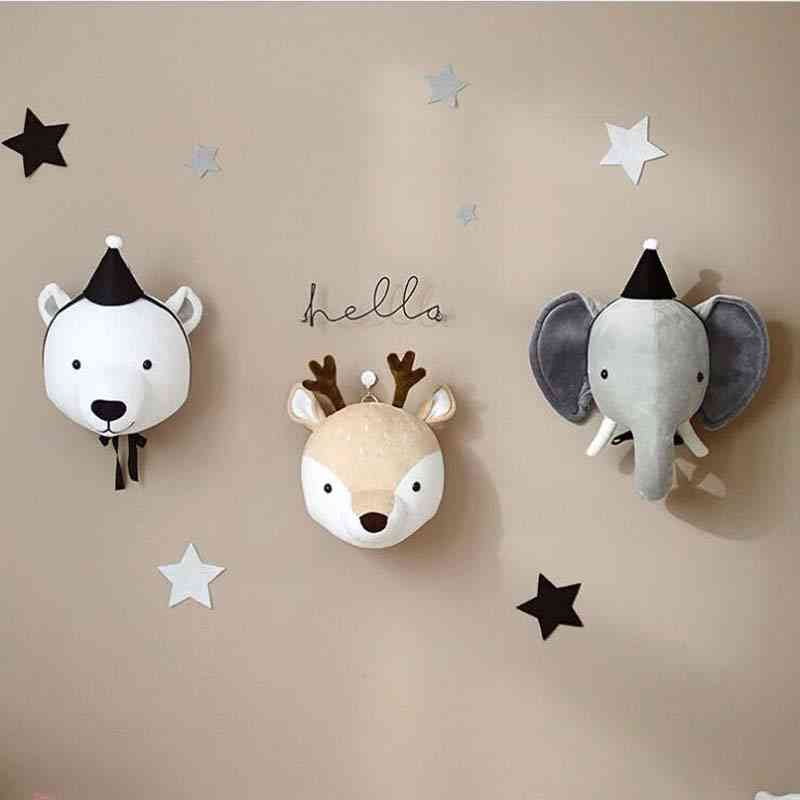3d Animal Heads-wall Hanging For Nursery, Decor And Photo Props