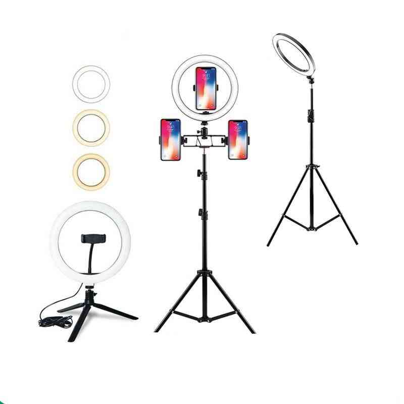 Dimmable Led Ring Light With Tripods Stand, Phone Holder Desk