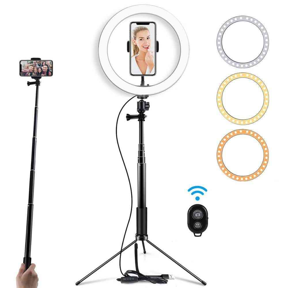 Selfie Led Ring Light With Tripod Stand For Makeup, Live Streaming & Youtube Video