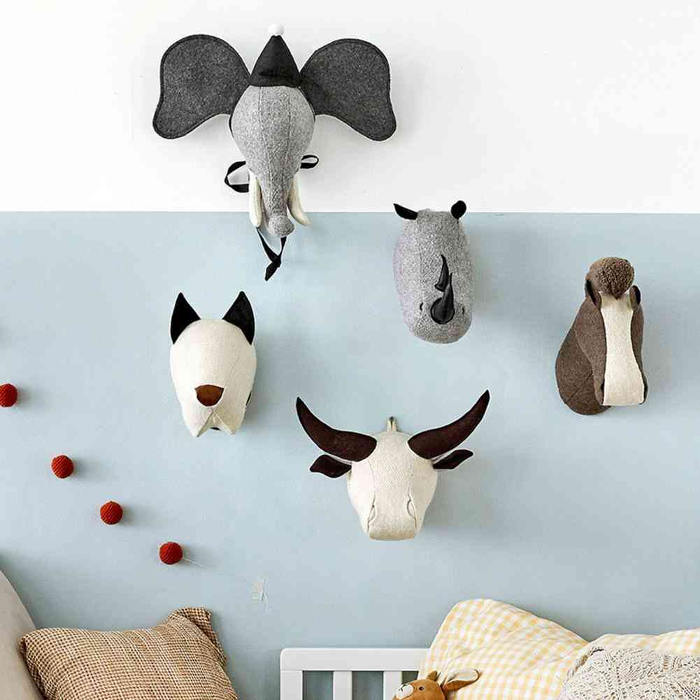 3d Animal Heads Elephant Rhinoceros Stuffed- Wall Hanging For Baby Room Nursery Decor Birthday