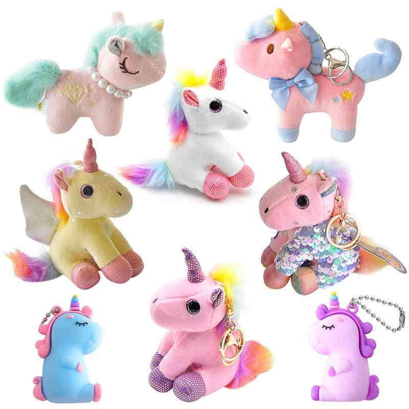 Cute Creative Fat Unicorn Animal Plush- Keychain Creative Color Sequins, Chubby, Angel Wings, Unicorn Plush Toy For Girl