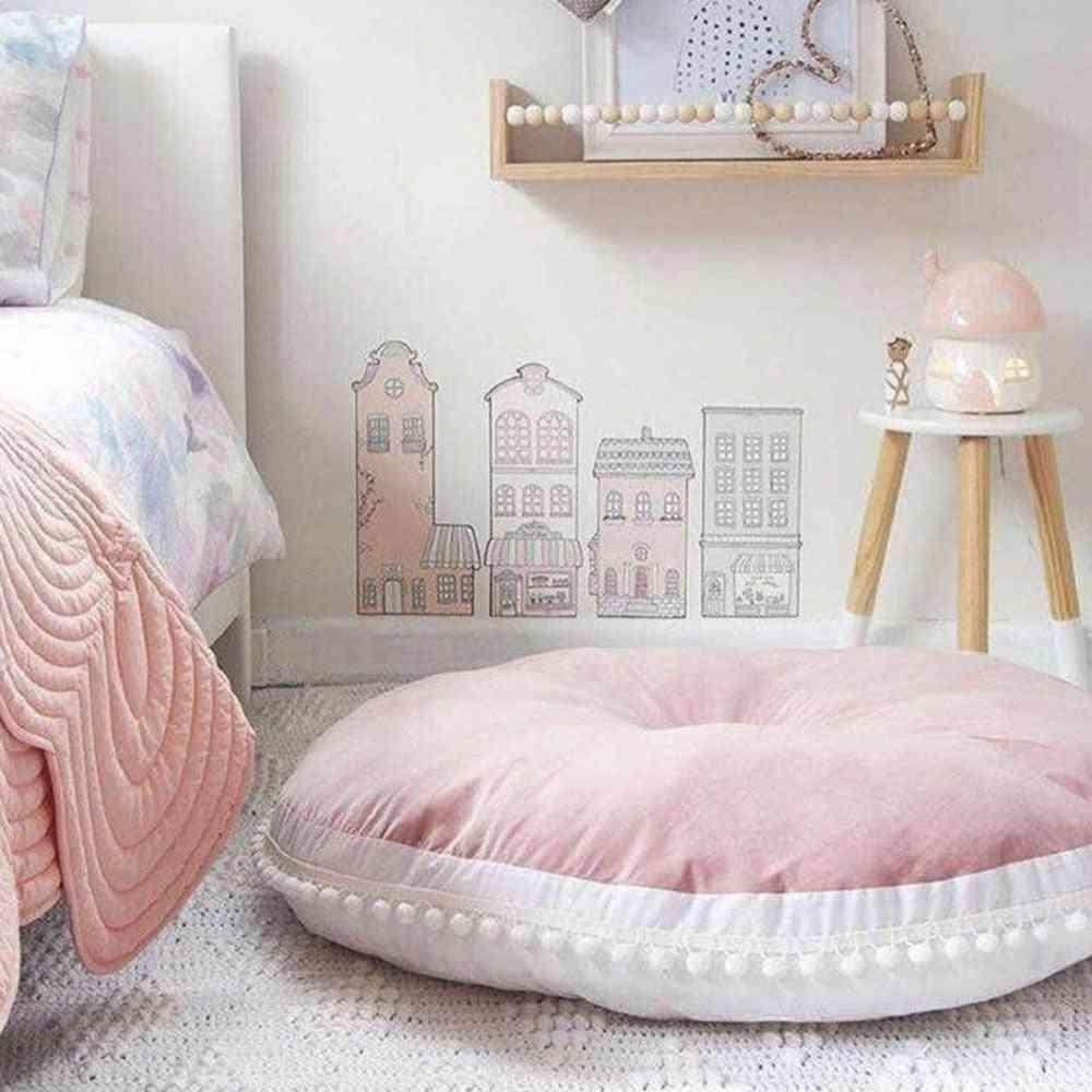 90cm Round Cushion Pad- Home Decor Seat Cushion Kids Pillow Stuffed Thick Cotton Play Pad Crwaling Mat Carpet Floor Rug Baby Room