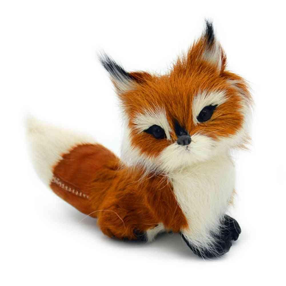 Home Stuffed Animal Simulation Fox Model- Mini Squatting Birthday Soft Lovely Wedding Decoration Plush Toy Small