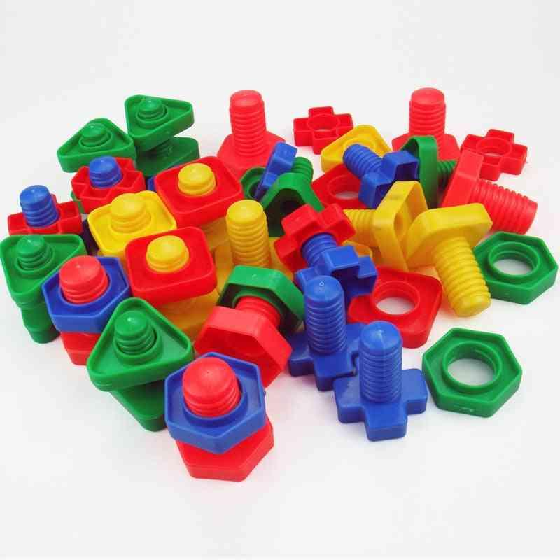4 Sets/lot Screw Building Blocks - Plastic Insert Blocks, Nut Shape Toy