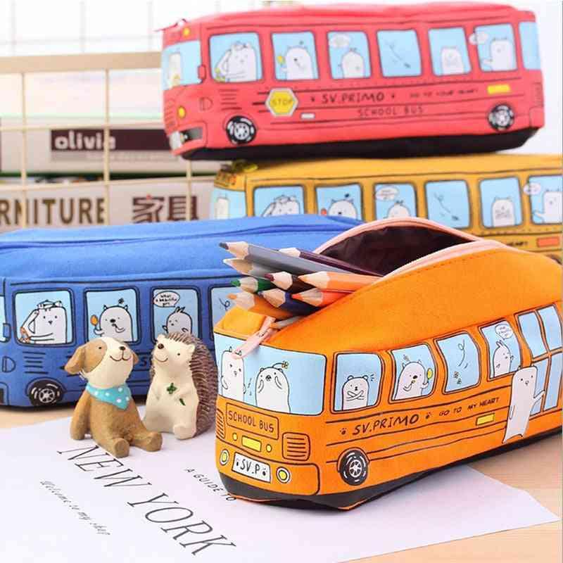 Kawaii Creative Large Capacity Canvas Car Pen Bag Stationery Box-cartoon Animal School Bus- Writing Case Trousse School Supplies
