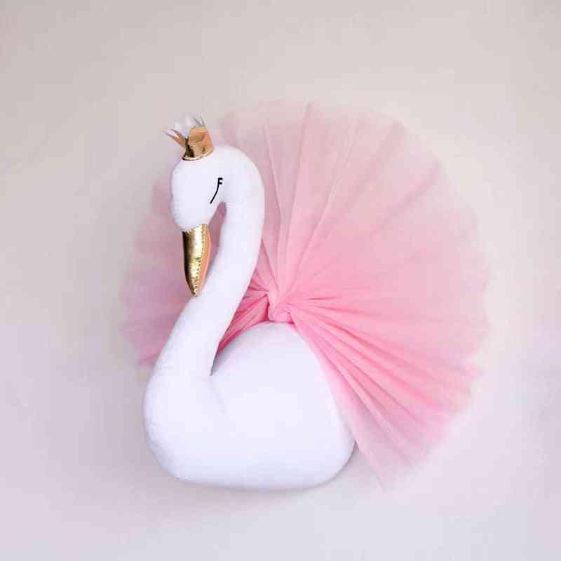 Baby Room Decor Nursery Swan Stuffed- 3d Animal Head Wall Hanging Kids Bedroom Accessories (swan)