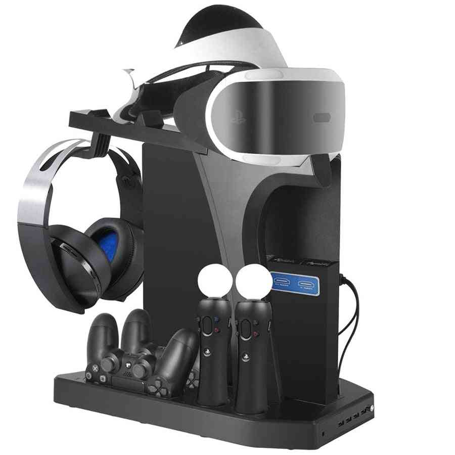 Dual Charging Station For Ps4 Pro Slim, Vertical Stand - Cooling Fan, Headset Holder