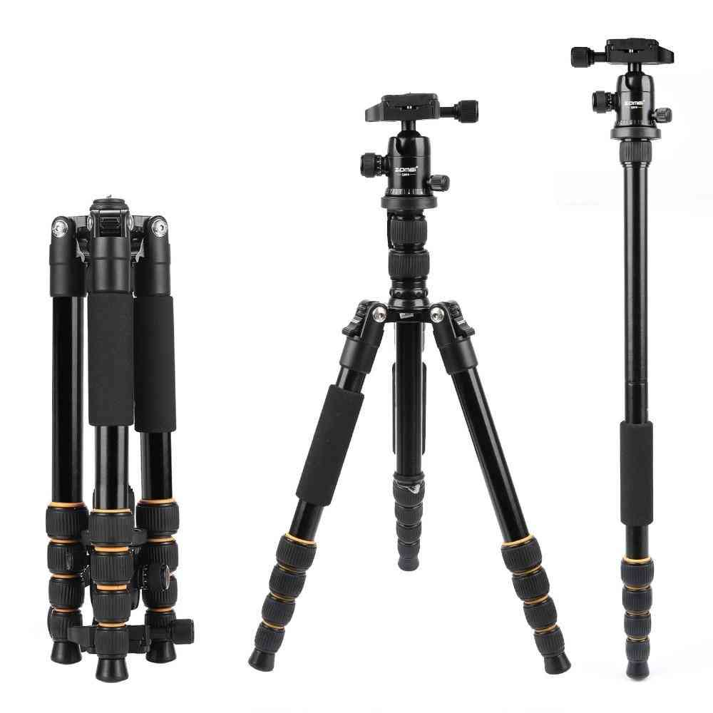 Lightweight Portable Q666 Professional Travel Camera Tripod - Monopod Aluminum Ball Head Compact
