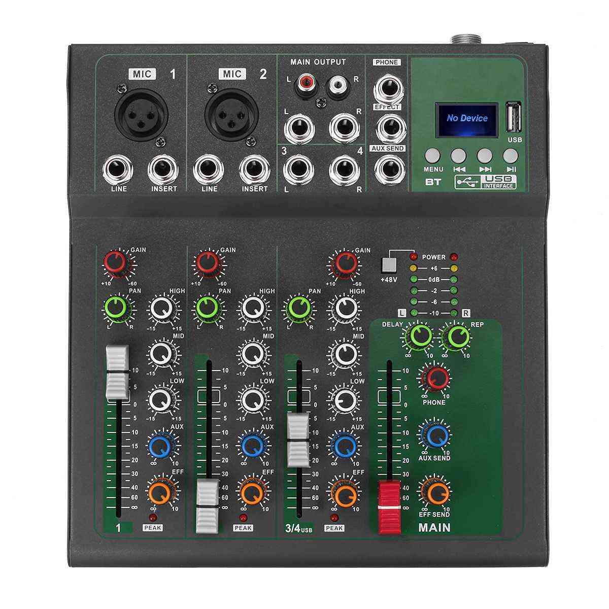 Bluetooth Portable Audio Mixer - Control Led Digital Display Music Stream
