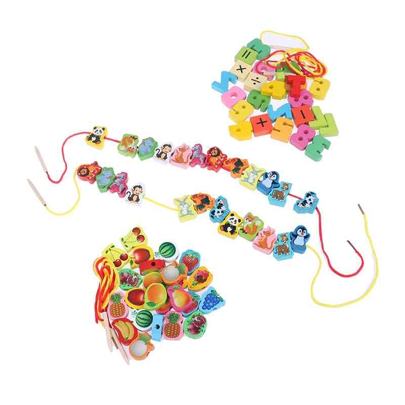 Cartoon Fruit, Animal, Stringing Threading And Wooden Beads Educational For