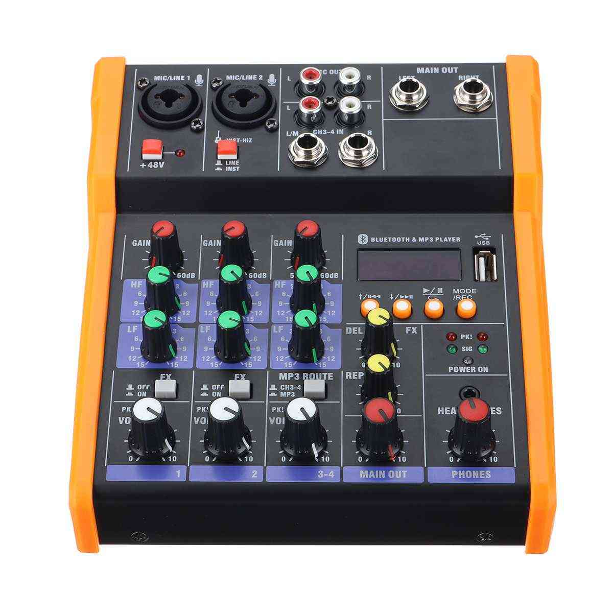 4 Channel Bluetooth Microphone 48v Sound Mixer Console
