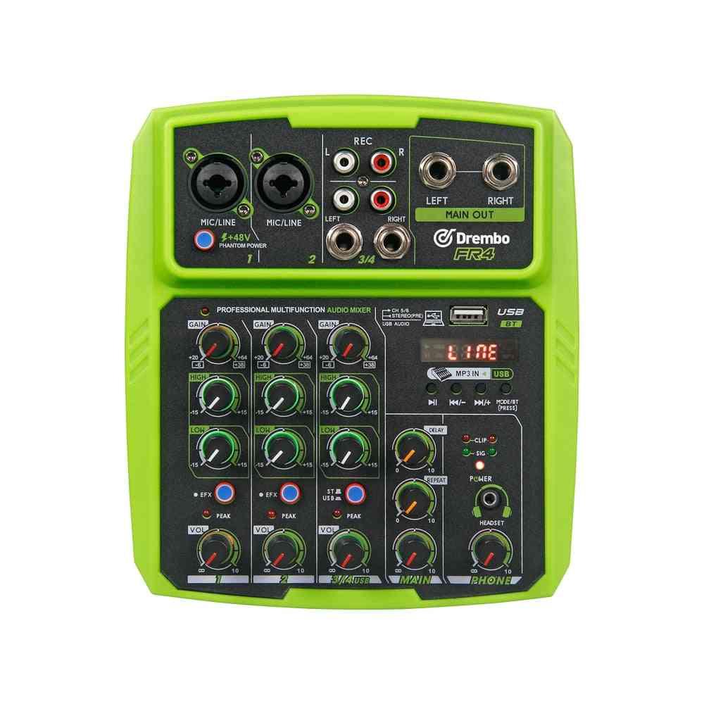 Protable Digital Audio Mixer Console With Sound Card, Bluetooth And Usb Phantom Power For Dj Pc Recording
