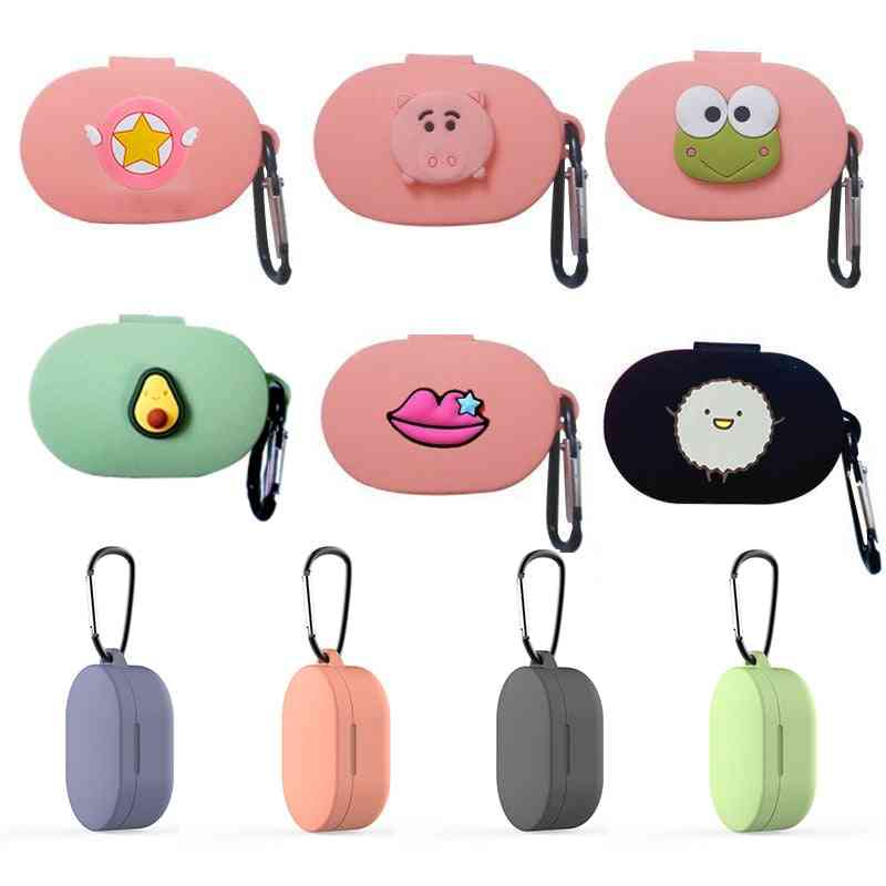Cartoon Earphone Case With Hook For Xiaomi Redmi Airdots Case Cover -wireless Bluetooth Earphone Cases Soft Tpu Shell