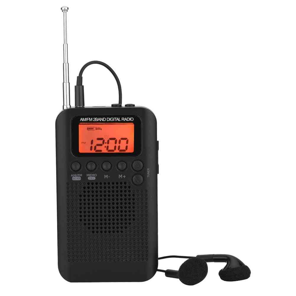 Dual Band Am Fm Digital Radio, With  Lcd Display And Arphones