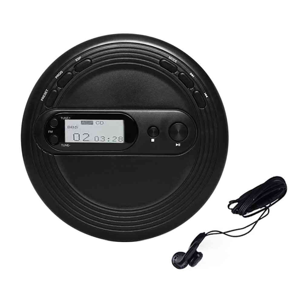 Portable Cd Player For Stereo Earbuds Round Fm Radio And Anti Skip Protection