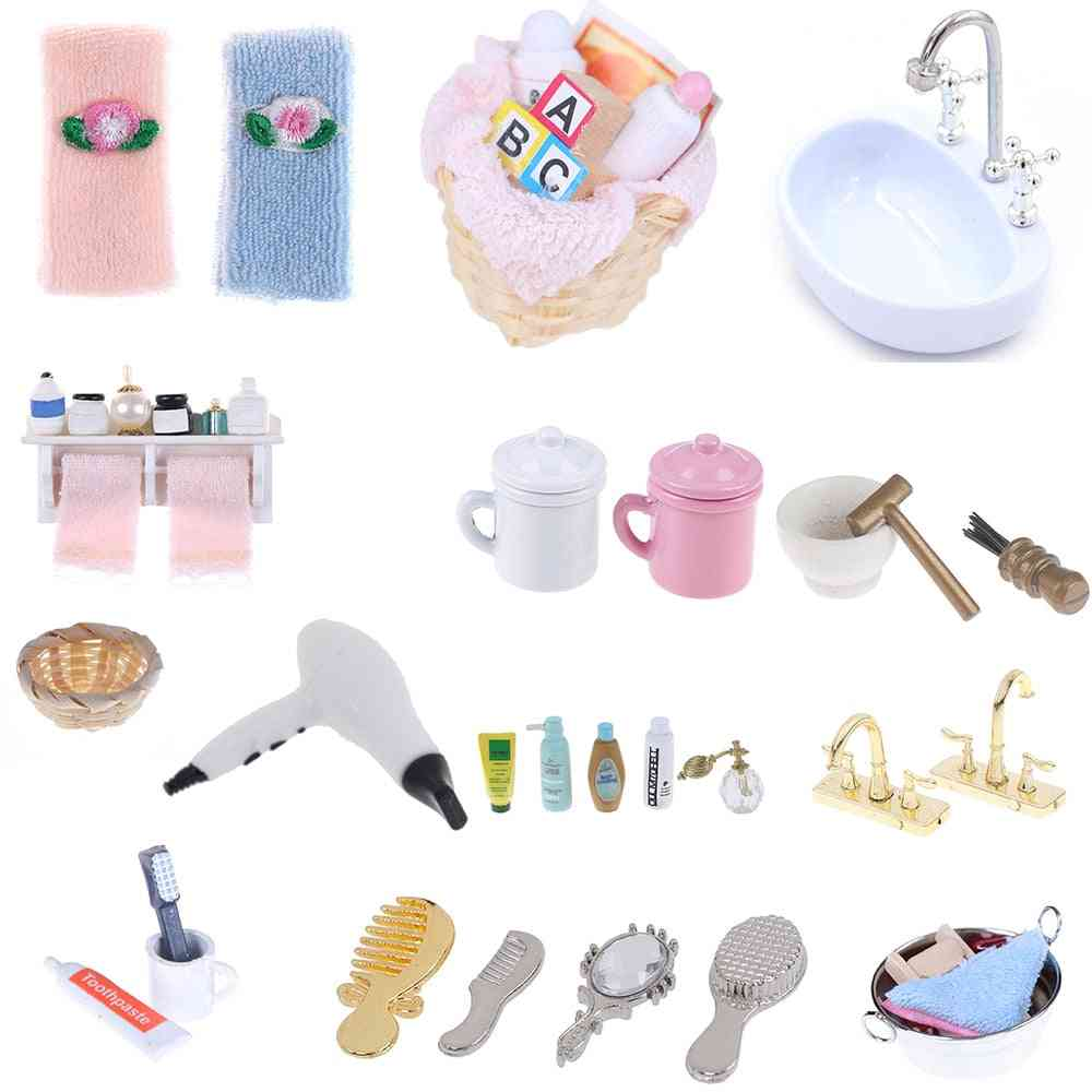 Diy 1/12 Miniature Dollhouse Bathroom Furniture Accessories Sets- Bath, Toothbrush, Toothpaste, Cup Comb Hair Dryer Mirror Baby