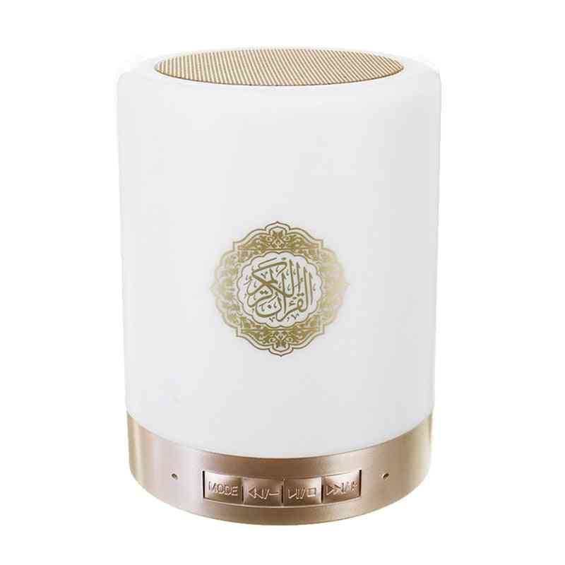 Hot-wireless Bluetooth Quran Speaker With Colorful Led Light - Koran Reciter Muslim Loudspeaker With Remote Control (white Other Other Speaker)